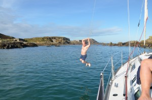 Swimming in Saye Bay, Alderney. Sailing Cruise Holiday.