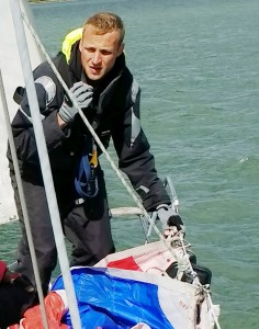 Spinnaker prep on 5 Day Cross Channel Yacht Cruise