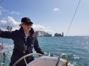 Kathy on the Helm as we passed the Needles